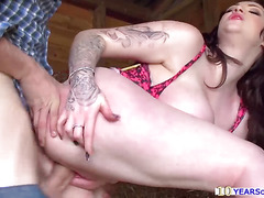 Best tits in porn Harmony Reigns fucked hard in the stables