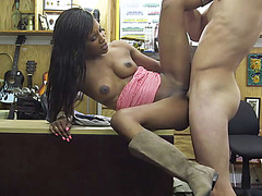 Perfect Ebony and black skinny teen pussy is stuffed with a fat cock