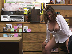 Cock hungry MILF spreading her legs in the pawnshop for some cash