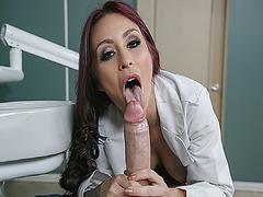 Miss Monique Alexander sucks her patient Danny Ds cock