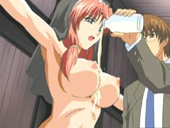Chained hentai gets milking her massive tits and toying pussy