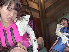 Horny Japanese babes Miku n Miku gets bangbanged and creampie by guys