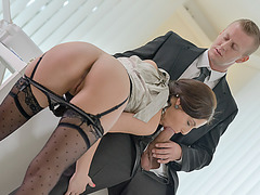 Horny babe Antonia fucks friend at the house