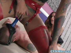 Femdom latex babes overpower sub with toys