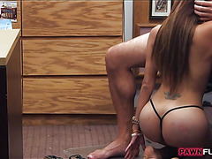 Booby bitch posed and fucked by pawn man at the pawnshop