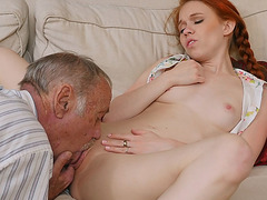 Redhead Dolly Little got fucked by an old guy