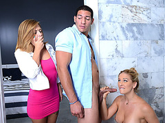 Stepmom Cherie sucks Kellys hunk boyfriend then they get busted