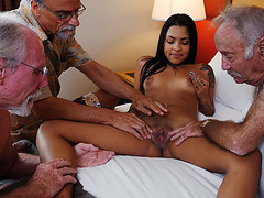 Latina babe Nikki Kay hot threeway fucking action