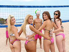 Summer sex action at the beach with lovely teen bitches