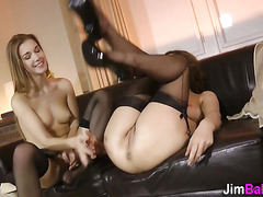Stockings brit fuck 3some