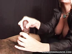 Tied Guy Gets Femdom Handjob