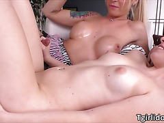 Busty ladyboy Aubrey fucks hot and sexy Trillium in a hardcore