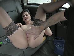 Pretty brunette passenger enjoys free hot sex and creampie