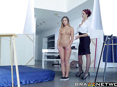 Hot ass model gets involved in lesbian play with boss
