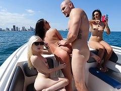 Gorgeous bikini babes got wild on a boat fuck