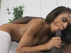 Busty ebony slut filled by black cock in doggy style