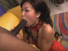 Flawless Asian chick flashing cute ass for interracial lover