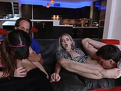 Two Dads Exchange Their Dawters to Fuck Them Rough