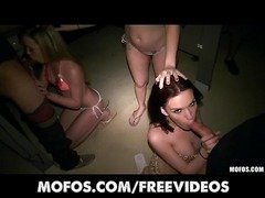 Three bi-curious sluts sneak into the men's bathroom for an orgy
