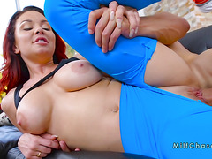 Dude banging busty Milf through her tights