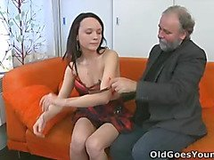 She loves her boyfriend, but not enough to keep her hands of the old guy!