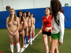 Girls play naked football and get licked