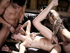 Haley got her mouth and pussy fucked by two big cocks