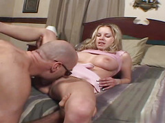 Cute blonde is fucked by aged