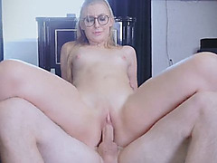 Sexy blonde babe taking care of cock