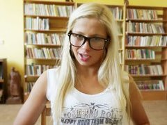 Super cute blonde anal rides in library