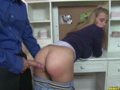 Alanna gets her pussy pounded from behind  bent over her desk.