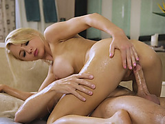 Big tits blonde masseuse sucks off and banged by client