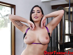 Busty ho gagging on dong