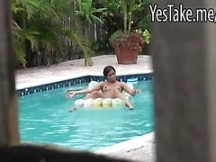 Skanky amateur redhead gf Julissa James fucked by the poolside