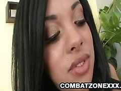 Ebony teen gets a load of cum on her face