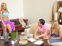 Stepmom plays with teens after homework
