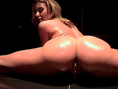 Beautiful pornstar Sheena Shaw stripteasing and gets fucked by a massive dick