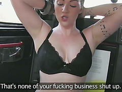 Busty amateur Harmony scammed in taxi