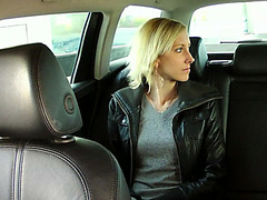 Hot and blonde amateur gets hard ramming in a taxi and receives facial