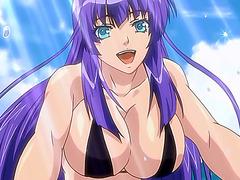Big titted hentai babe in bikini fucked on the beach