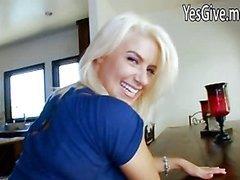 Sexy blonde Anikka Albrite rides black