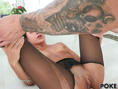 Marina Angel gets her pantyhose ripped by big cock