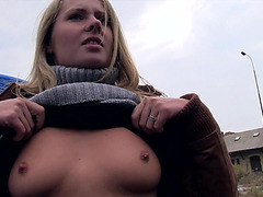Hot euro chick shows her tits in public and gets fucked for a cash in return