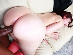 Redhead with Bubbly Ass Fucked by Big Dark Dick