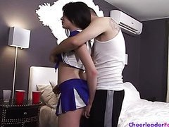 Cheerleader Gets Her Shaved Pussy Fucked part 1