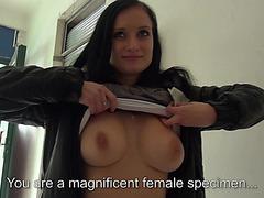 Eurobabe Rosalinda flashes her huge tits