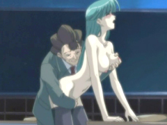 Busty hentai coed gets licked her pussy in the classroom