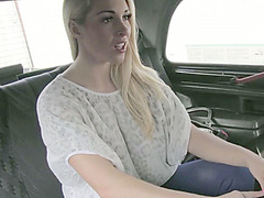 Busty euro chick flashes her tits and ass and gets fucked in taxi