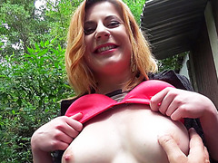 Natural big tits babe Ryta flashes her tits into the stranger