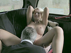 Horny Phoebe gets laid in taxi and gets sticky cumshot